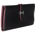 (Black) Buckle Closure Long Wallet