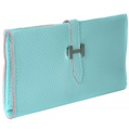 (Aqua) Buckle Closure Long Wallet