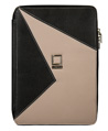 (Onyx/Taupe) Lencca Minky Leather Tablet Portfoli