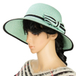 (Teal) Aerusi Panama Straw Hat