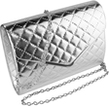Quilted Texture Clutch Bag with Silver Chain Sho