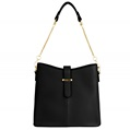 (Black) Serena Buckle Tote Bag