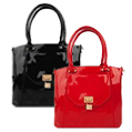 Bisou Locket Patent Leather Handbags
