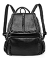 (Black) Chloe Genuine Leather Backpack and Cross