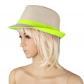Green Lace Crown Straw Fedora Hat