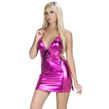 Patent Leather Lace Up Dress