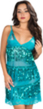 (Teal) Sheer Lace and Sequin Chemise