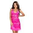 (Hot Pink) Sheer Lace and Sequin Chemis