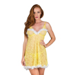 (Yellow) Feather Trim Floral Lace Babydoll Chemis