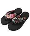 (Black) Saki Floral Sandals Flip Flops