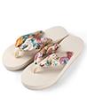 (Ivory) Saki Floral Sandals Flip Flops