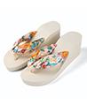 (Ivory) Saki Floral Wedge Sandals Flip Flops