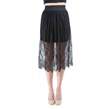 Black Lace Applique Skirt with Scallop Details