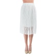 White Pleated Exquisite Lace Skirt with Elastic
