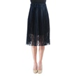 Navy Blue Pleated Exquisite Lace Skirt with Elas
