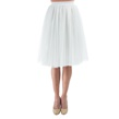 White Pleated Tulle Skirt with Elastic Waist