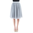 Gray Pleated Tulle Skirt with Elastic Waist