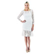 Medium White Form Fitting Lace Dress with Flare