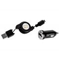 (Black) Mini Car Charger with Retractable Micro