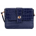 (Blue) Horizontal Crocodile Crossbody Bag