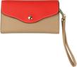 (Tan/Red) Crossbody Clutch Bag