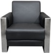 (Black) EuroStyle Sofa with Chrome Accent