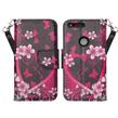 (Pink Flowers) Design Wallet Stand Case