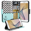 (Teal Anchor) Wallet Stand Case for Samsung J7