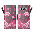 (Pink Flowers) Wallet Stand Case for Sa