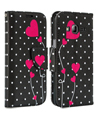 Poke Dot Pink Heart Wallet Stand Case f