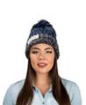 (Blue) Aerusi Echo Pompom Knit Beanie