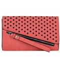 (Coral) Dotty Oversize Clutch
