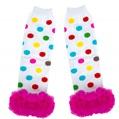 Kids Winter Leg Warmers Pink/White