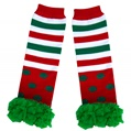Kids Winter Leg Warmers Green/Red