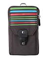 (Brown) Stripe Nylon Travel Pouch