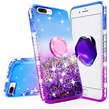 Blue Liquid Glitter WaterFall Case with Ring Hol
