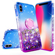 Blue Liquid Glitter WaterFall Case with Ring Ho