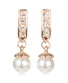Crystal Stick Pearl Drop Earrings (Rose Gold)
