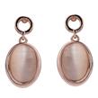 Rose Gold Oval Opal Dangle Studs