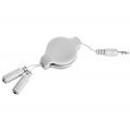 (White) Retractable Headphone Spli