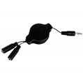 (Black) Retractable Headphone Spli