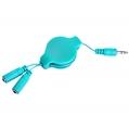 (Aqua) Retractable Headphone Splitter Cable