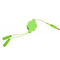 (Green) Retractable Headphone Spli