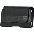 Nylon with Smooth Leather Strip Horizontal Pouch
