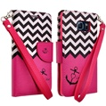 Pink Anchor Design Wallet Case for Sams